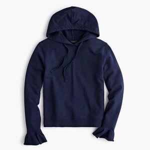 J.Crew Flare Cuff Hoodie Sweatshirt XS Navy Blue